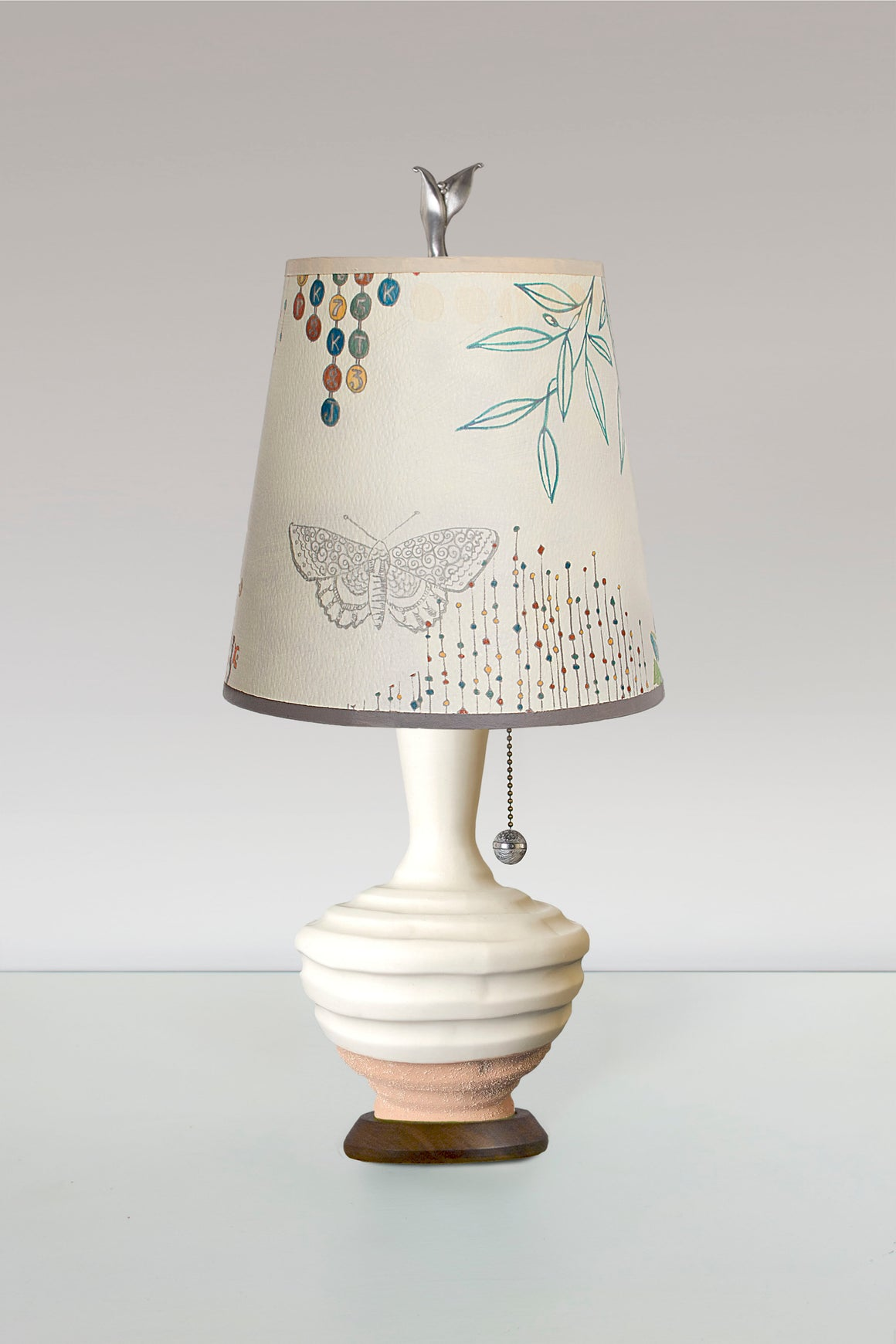 Terracotta and White Ceramic Table Lamp with Small Drum Shade in Ecru Journey
