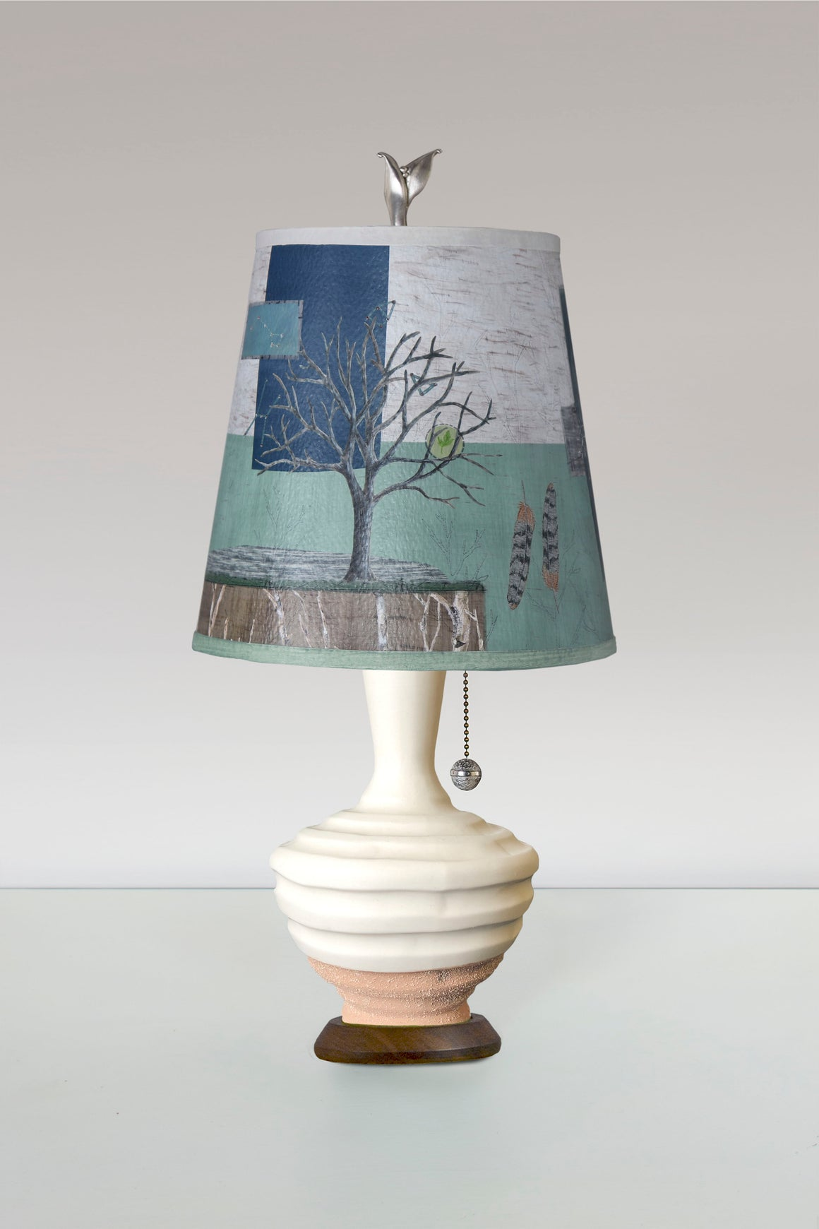 Terracotta and White Ceramic Table Lamp with Small Drum Shade in Wander in Field