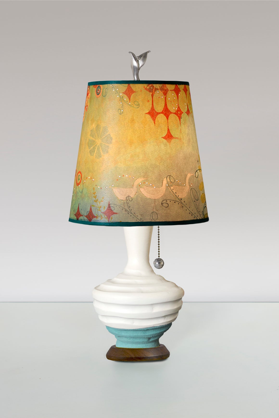 Turquoise and White Ceramic Table Lamp with Small Drum Shade in Dream Bird