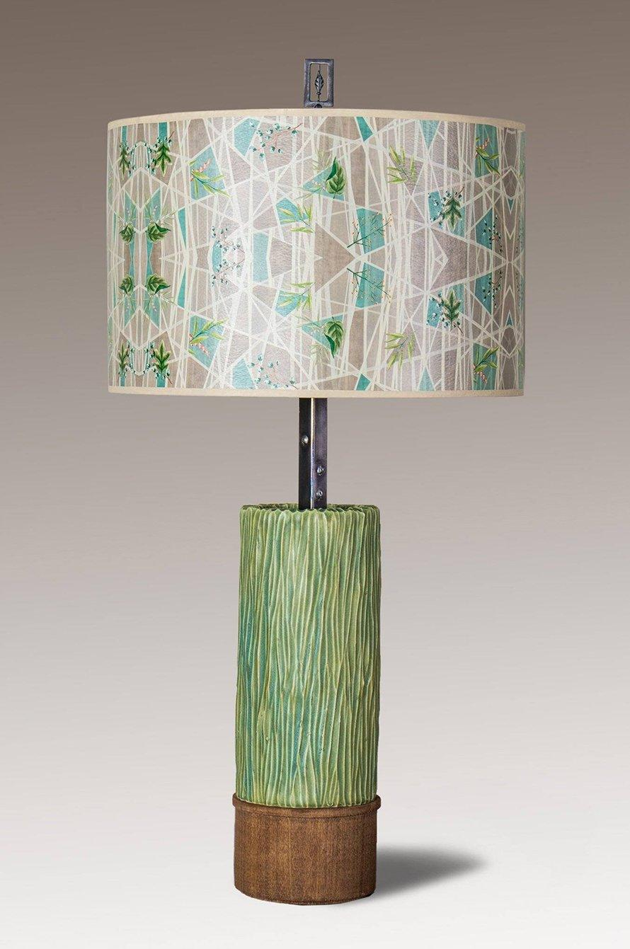 Ceramic and Wood Table Lamp with Large Drum Shade in Prism