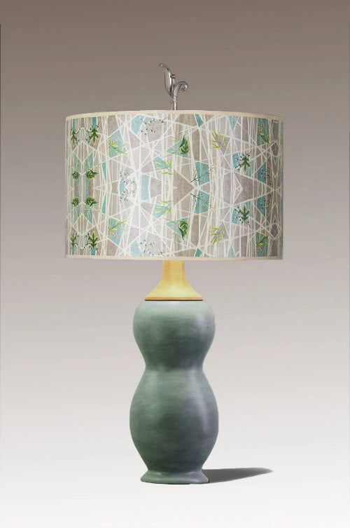 Butternut Ceramic & Maple Table Lamp with Large Drum Shade in Prism