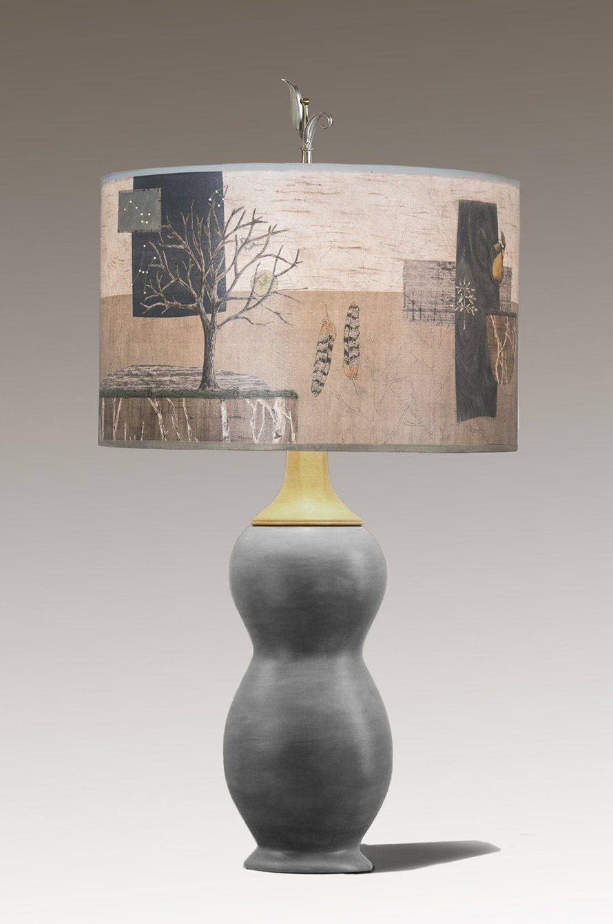 Butternut Ceramic & Maple Table Lamp with Large Drum Shade in Wander in Drift