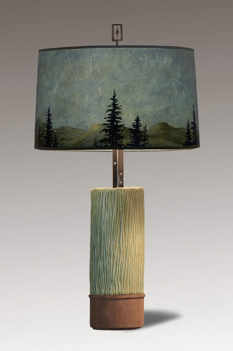 Ceramic and Wood Table Lamp with Large Drum Shade in Midnight