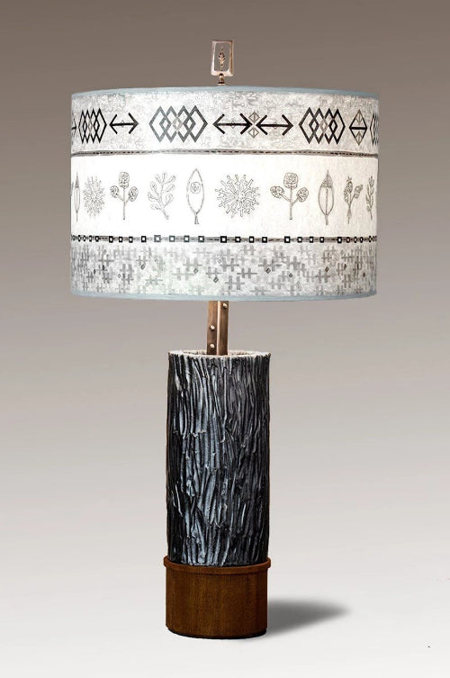 Ceramic and Wood Table Lamp with Large Drum Shade in Woven & Sprig in Mist