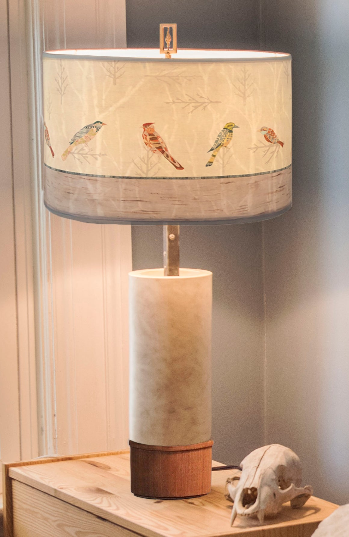 Ceramic and Wood Table Lamp with Large Drum Shade in Bird Friends