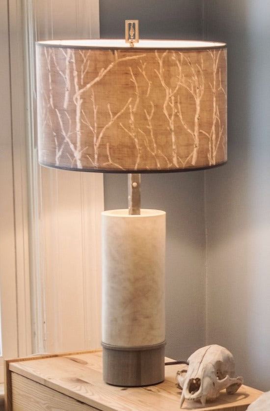 Ceramic and Wood Table Lamp with Large Drum Shade in Twigs