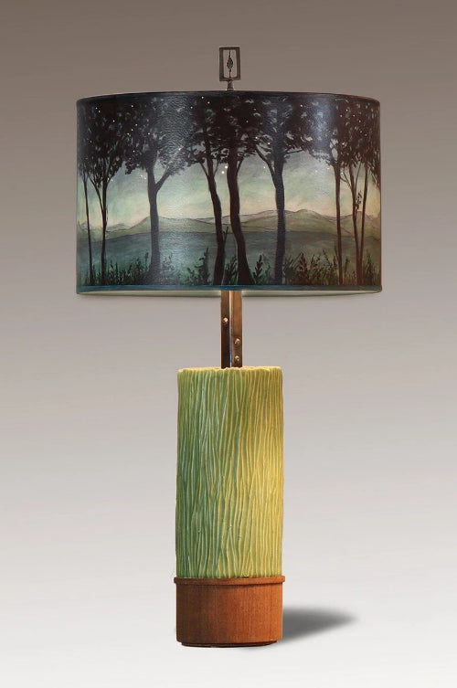 Ceramic and Wood Table Lamp with Large Drum Shade in Twilight