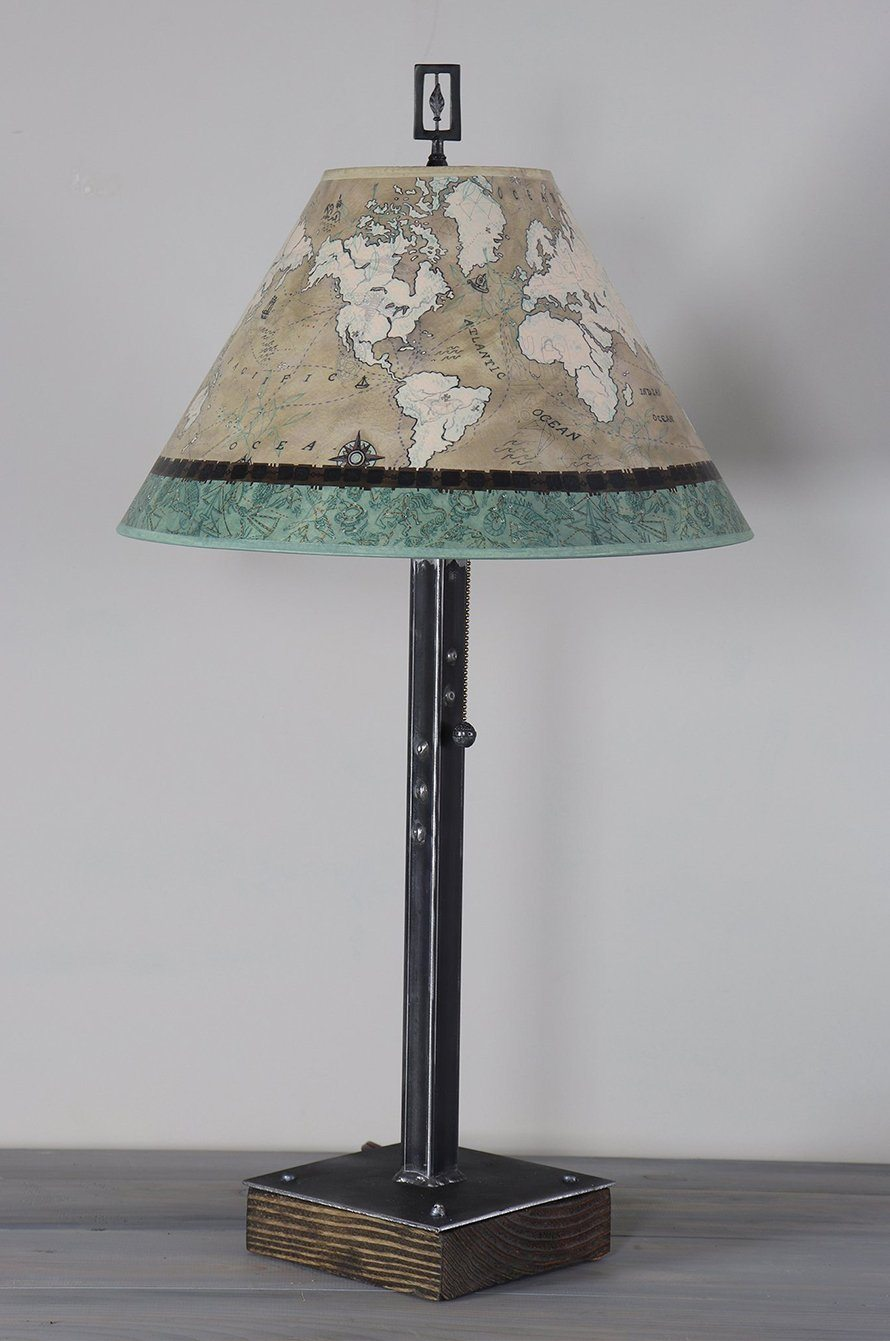 Steel Table Lamp on Wood with Medium Conical Shade in Voyages in Sand