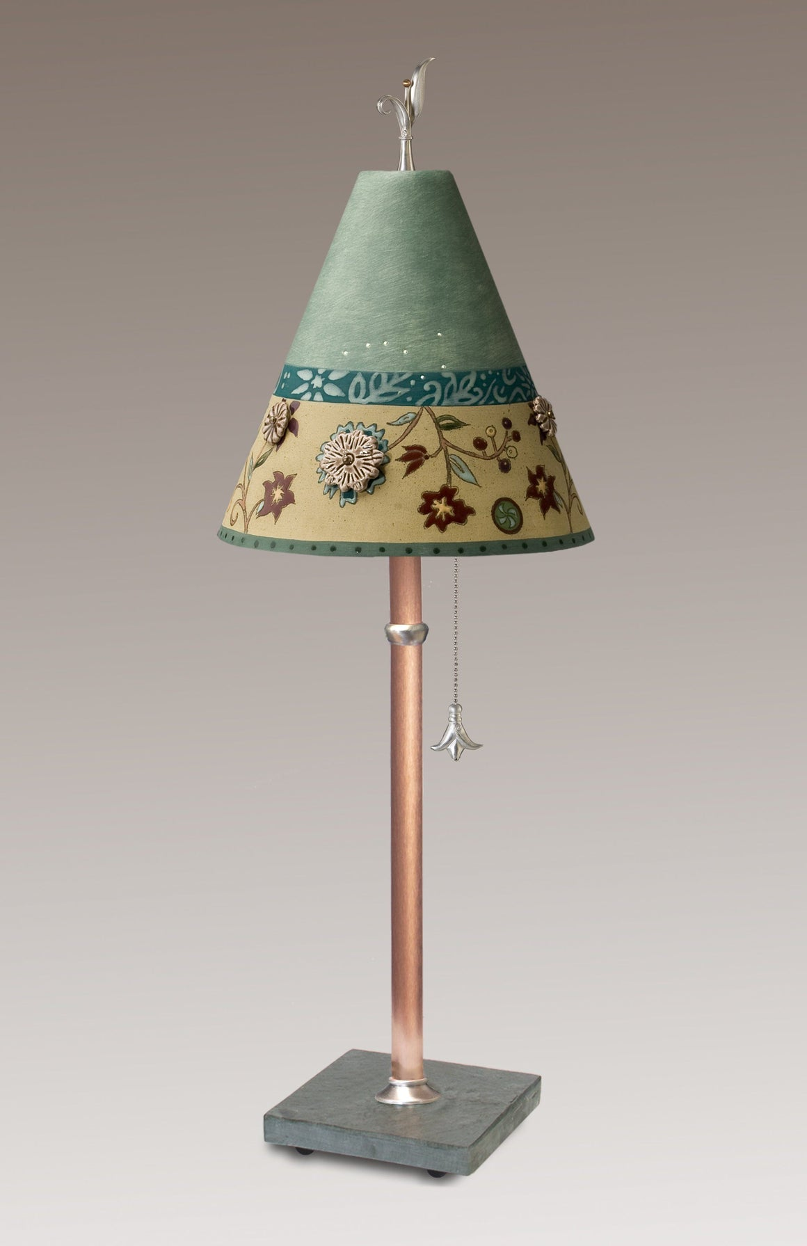 Ceramic-Shaded Copper Table Lamp with Small Conical Ceramic Shade in Eden Sea Glass