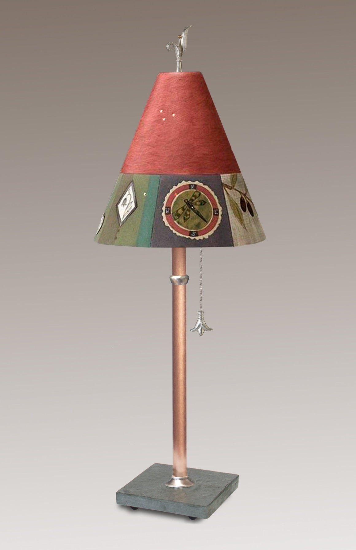 Copper Table Lamp with Small Conical Ceramic Shade in Lockets Rose