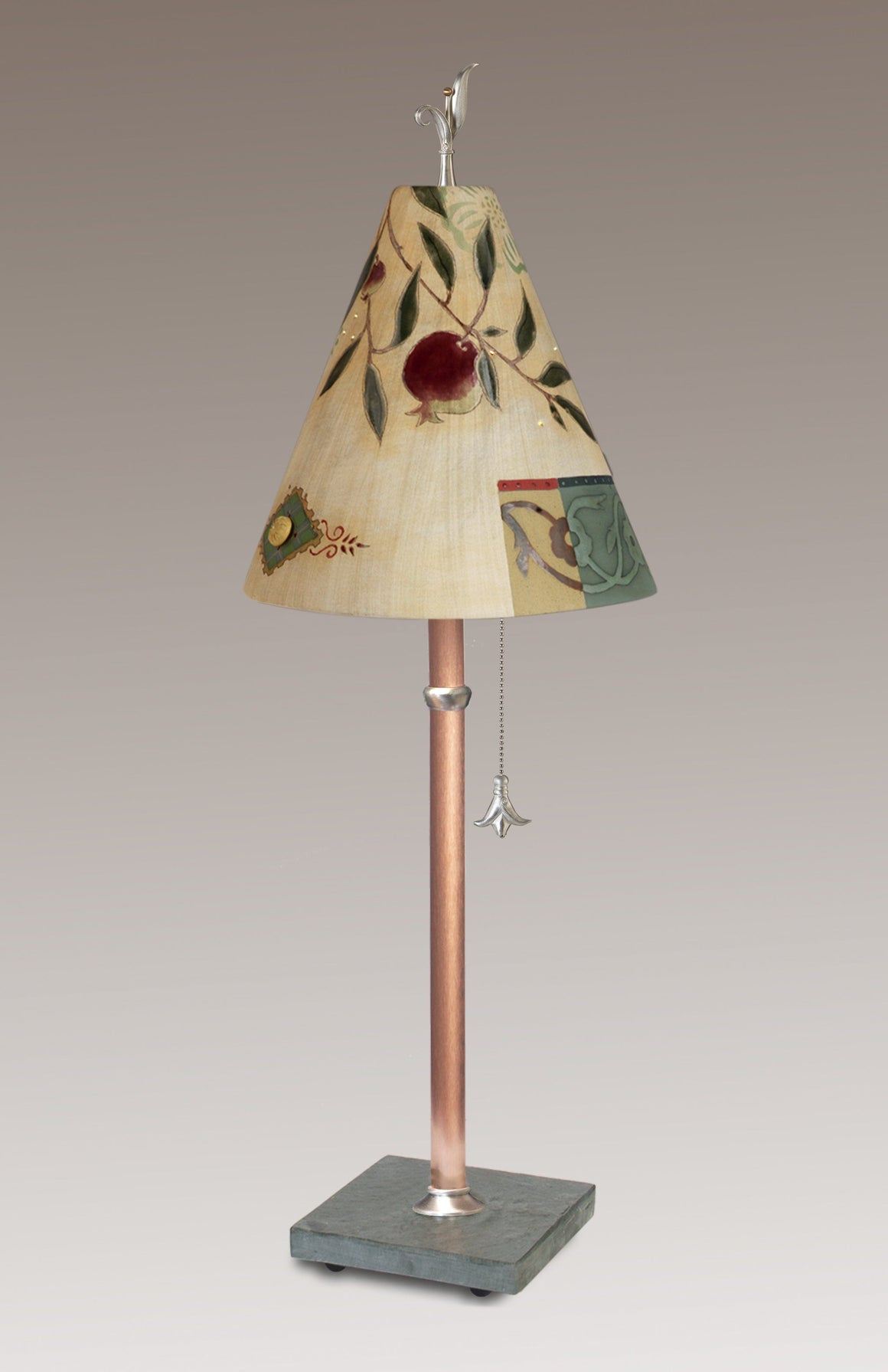 Copper Table Lamp with Small Conical Ceramic Shade in Pomegranate Ribbon