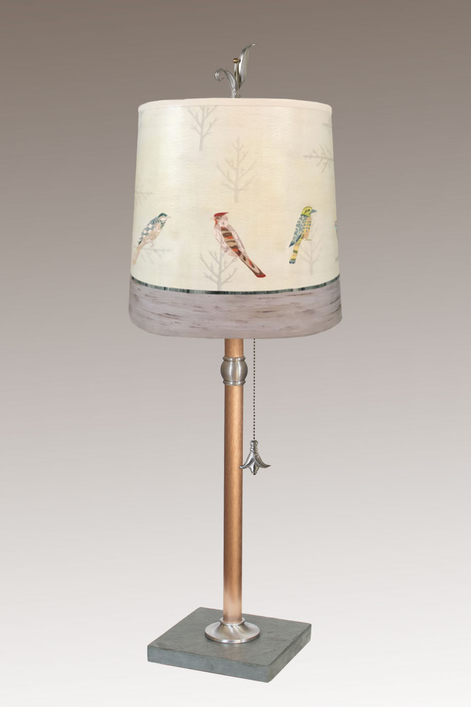 Copper Table Lamp with Medium Drum Shade in Bird Friends