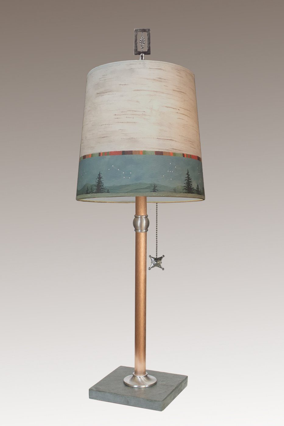 Copper Table Lamp with Medium Drum Shade in Birch Midnight