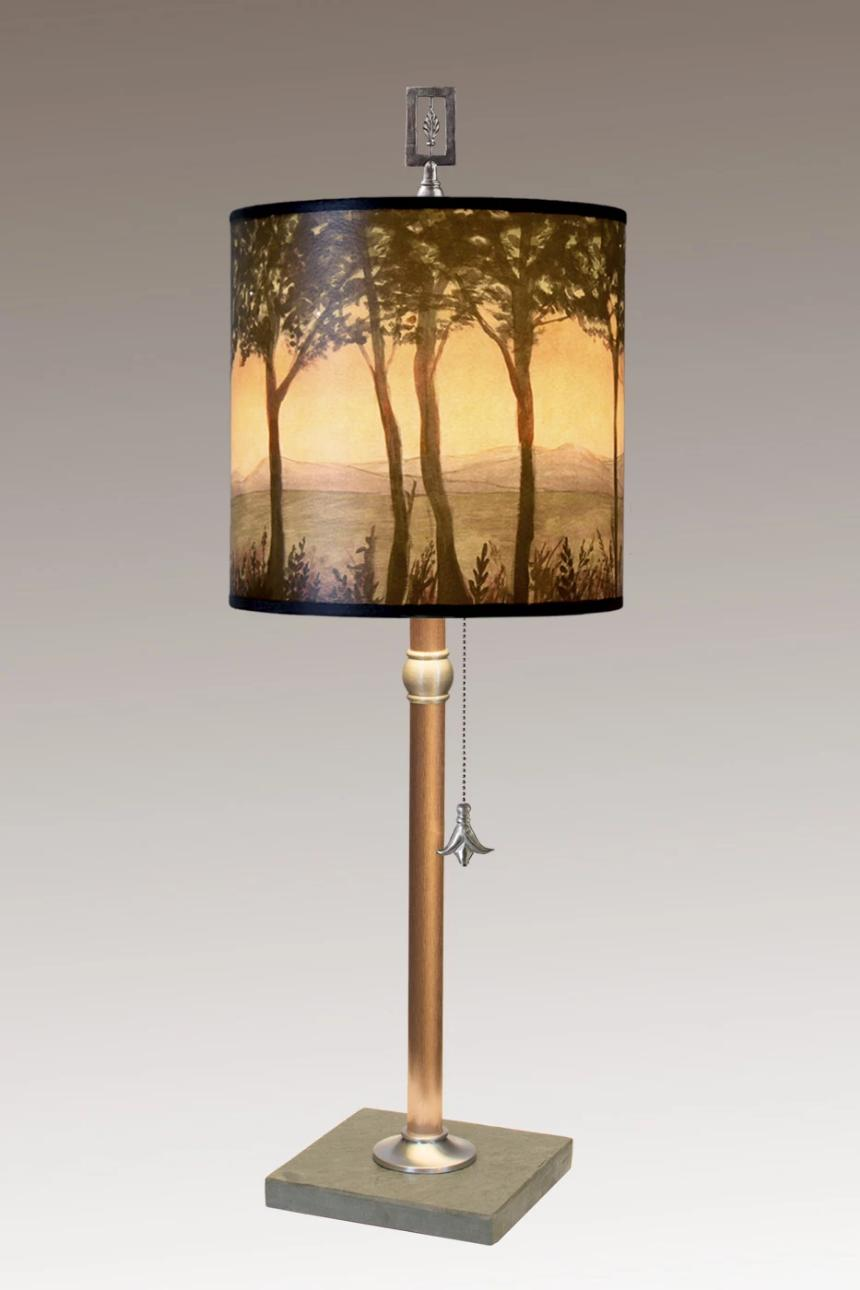 Copper Table Lamp with Medium Drum Shade in Dawn