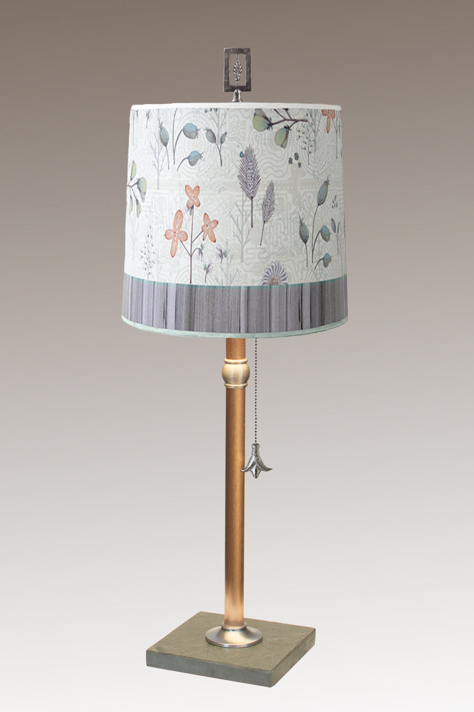 Copper Table Lamp with Medium Drum Shade in Flora & Maze