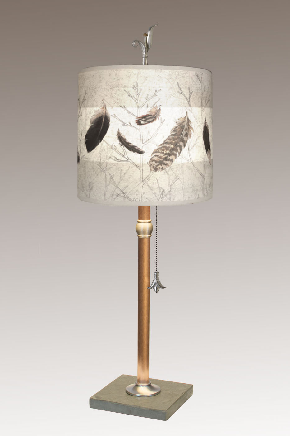 Copper Table Lamp with Medium Drum Shade in Feathers in Pebble