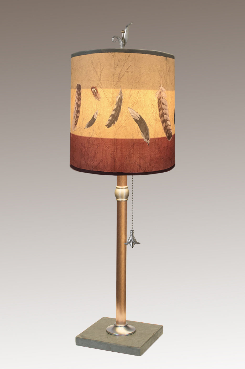 Copper Table Lamp with Medium Drum Shade in Feathers in Ruby