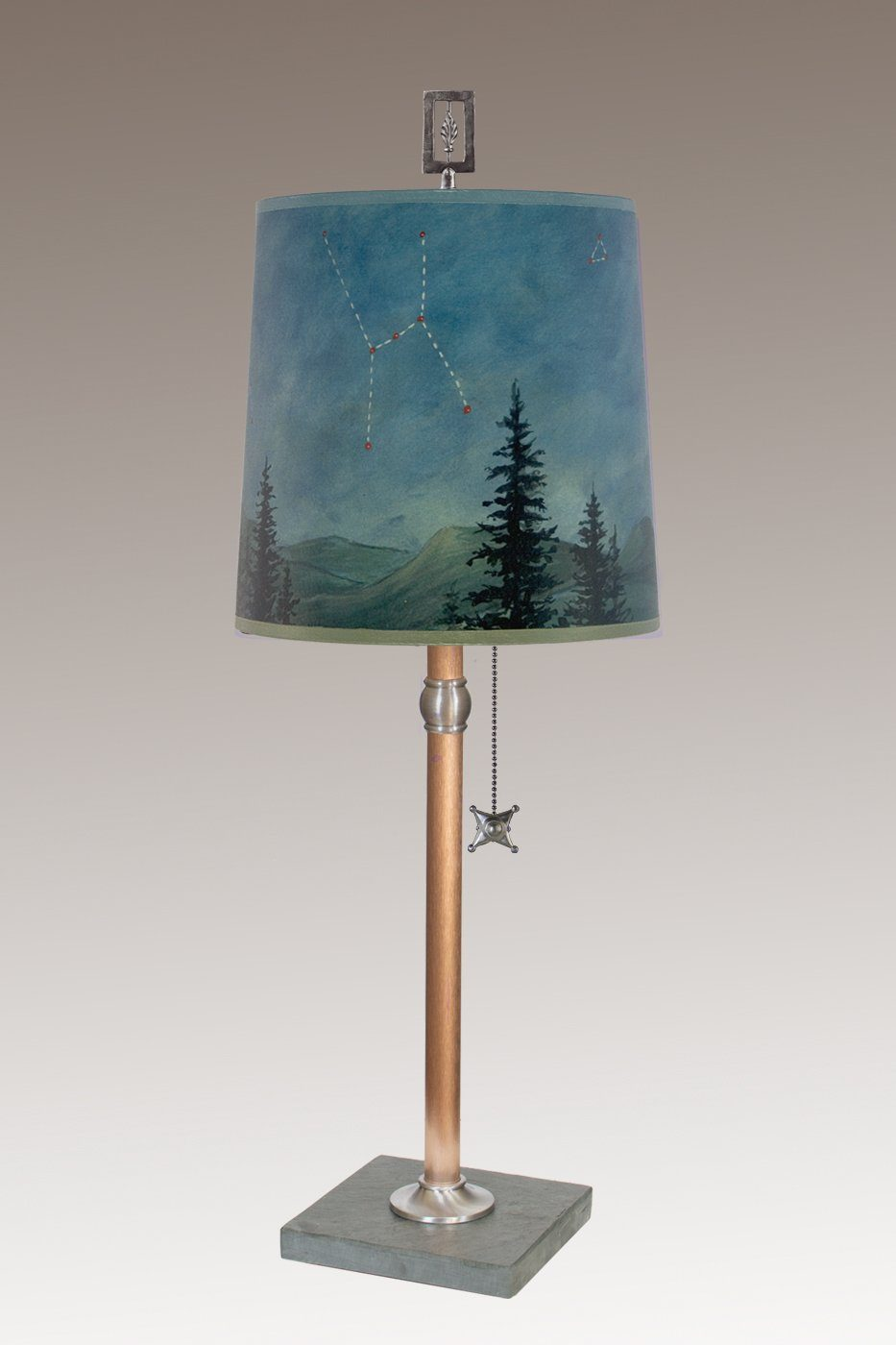 Copper Table Lamp with Medium Drum Shade in Midnight Sky