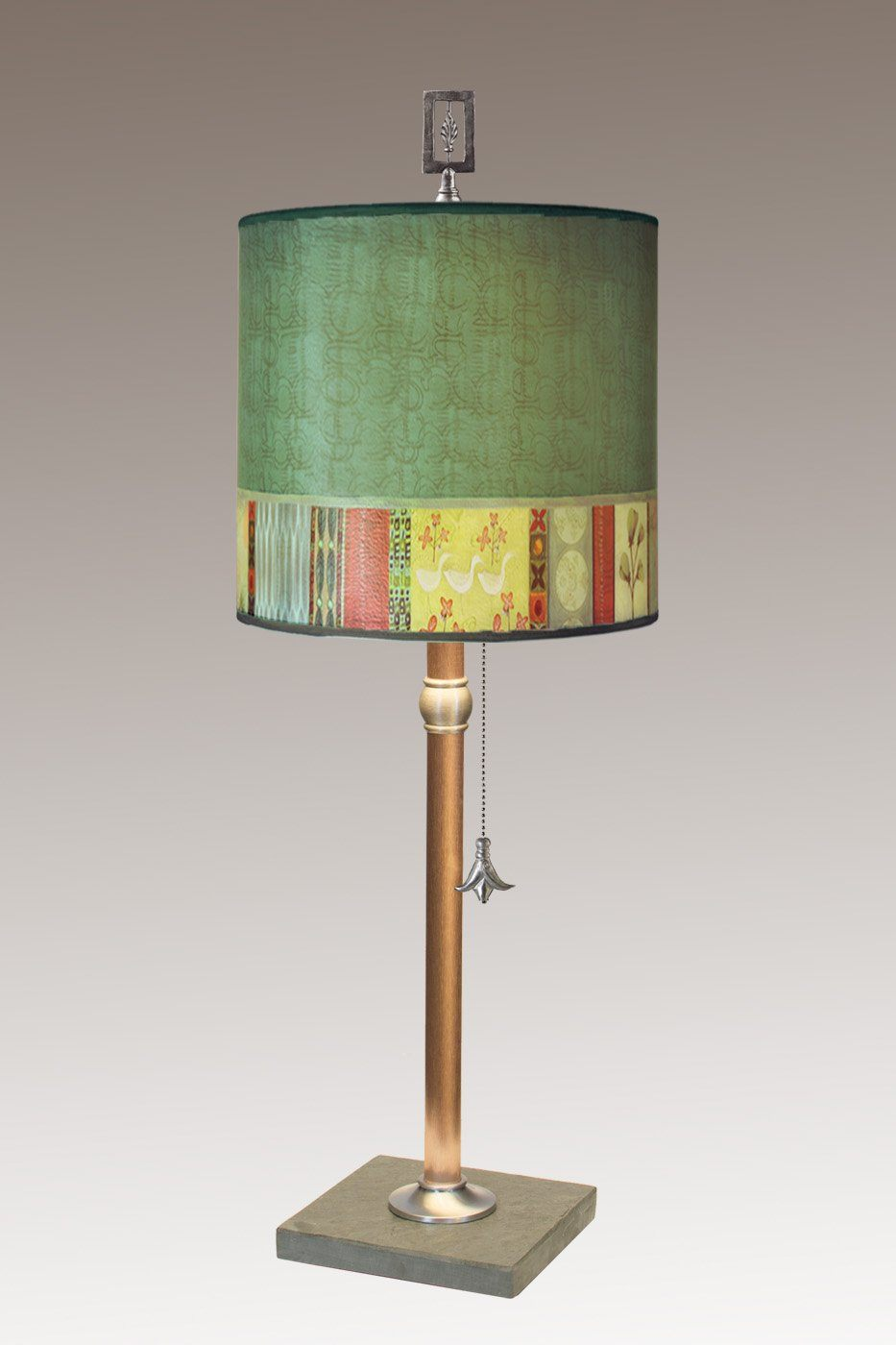 Copper Table Lamp with Medium Drum Shade in Melody in Jade