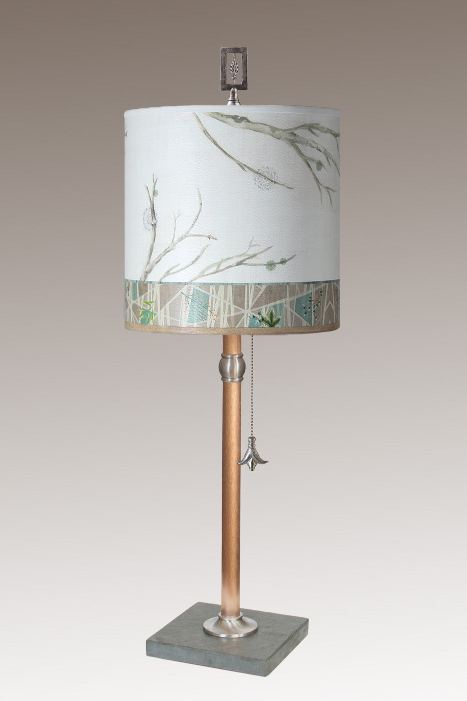 Copper Table Lamp with Medium Drum Shade in Prism Branch