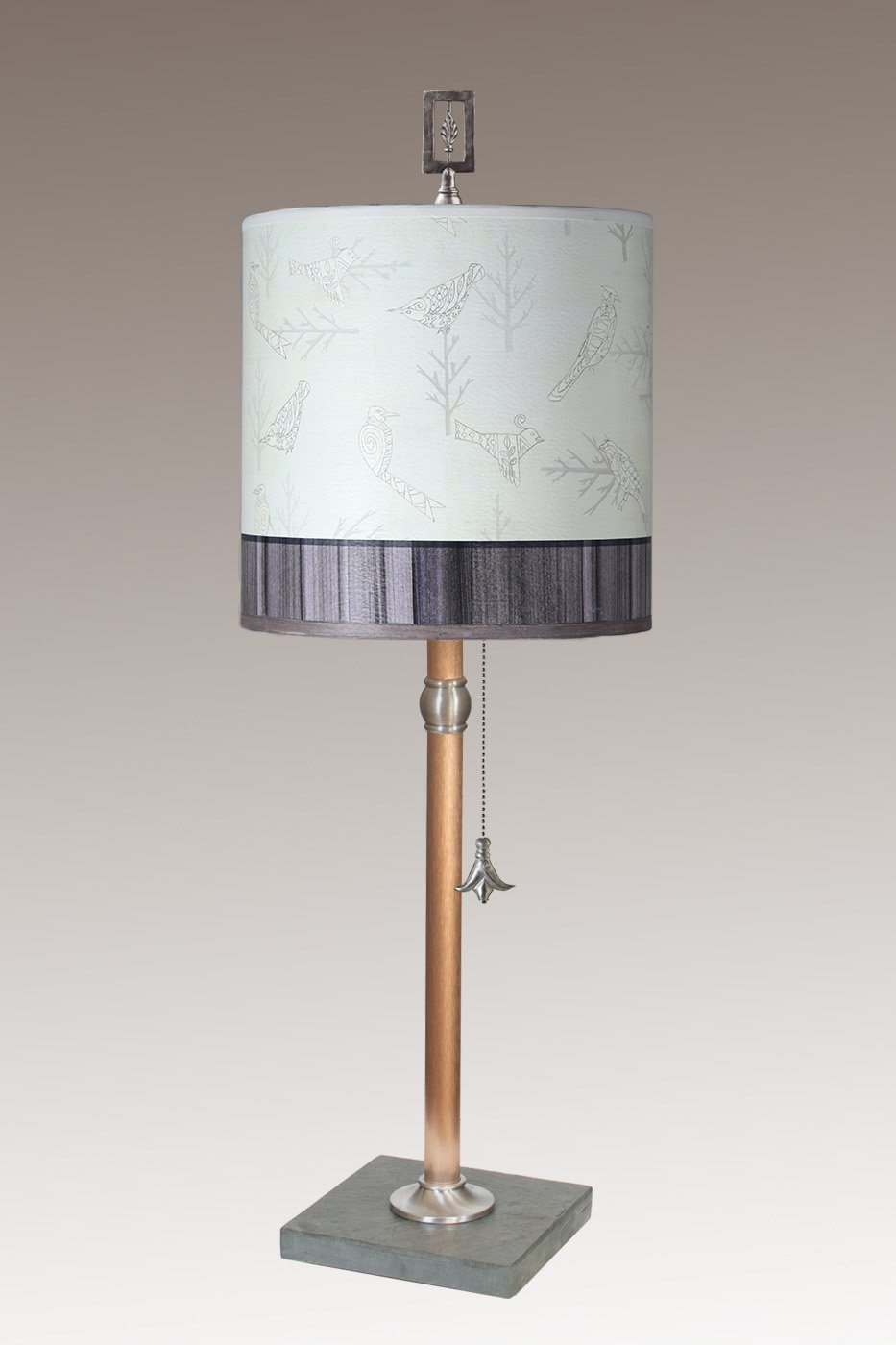 Copper Table Lamp with Medium Drum Shade in Perch