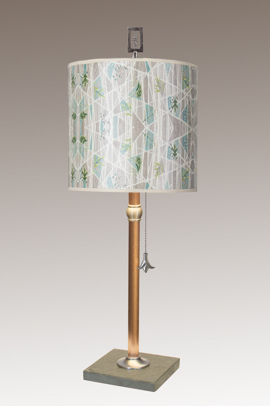 Copper Table Lamp with Medium Drum Shade in Prism