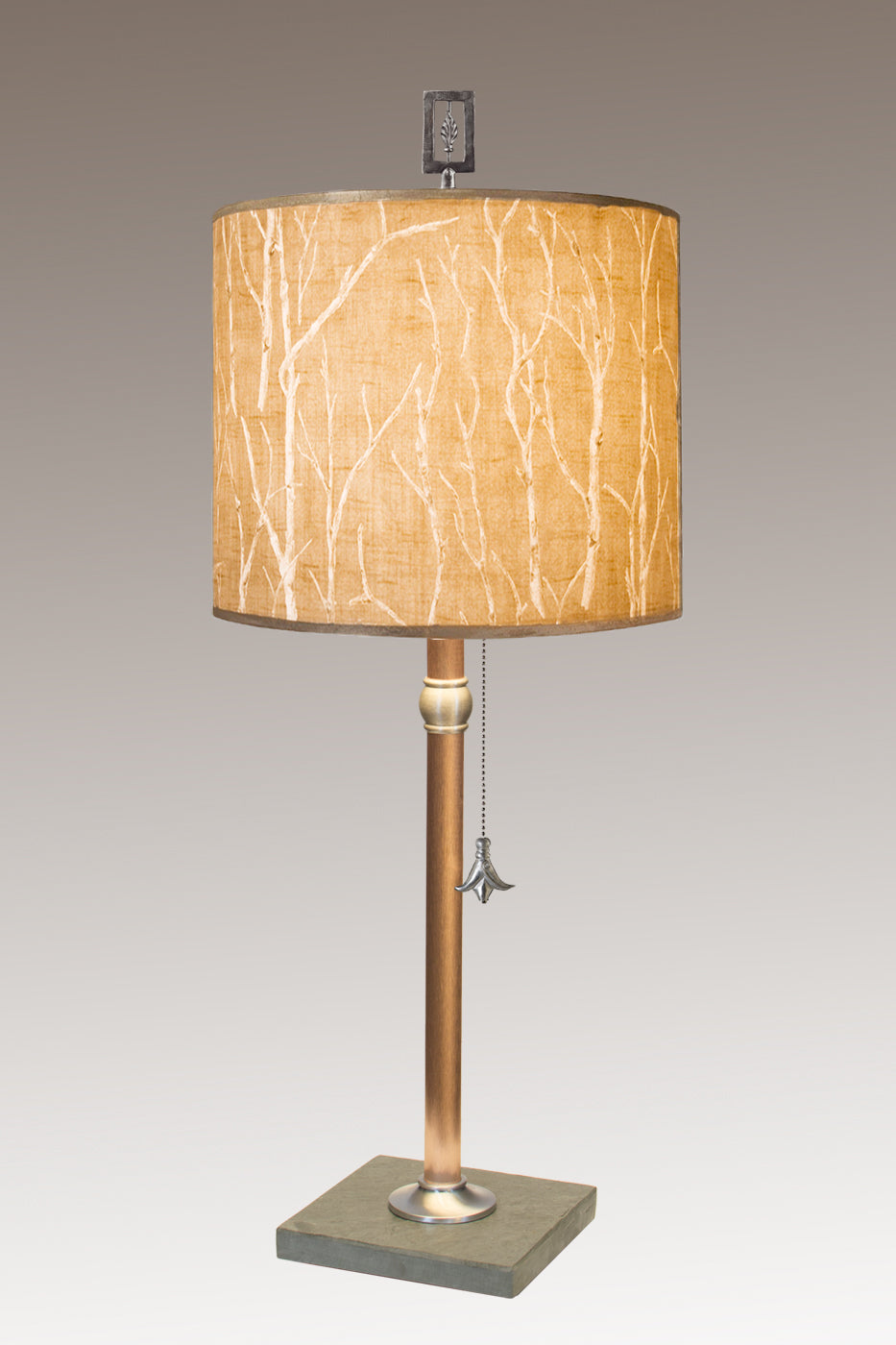 Copper Table Lamp with Medium Drum Shade in Twigs