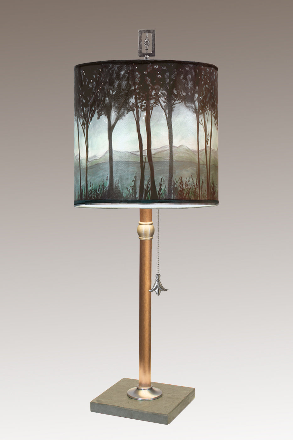 Copper Table Lamp with Medium Drum Shade in Twilight