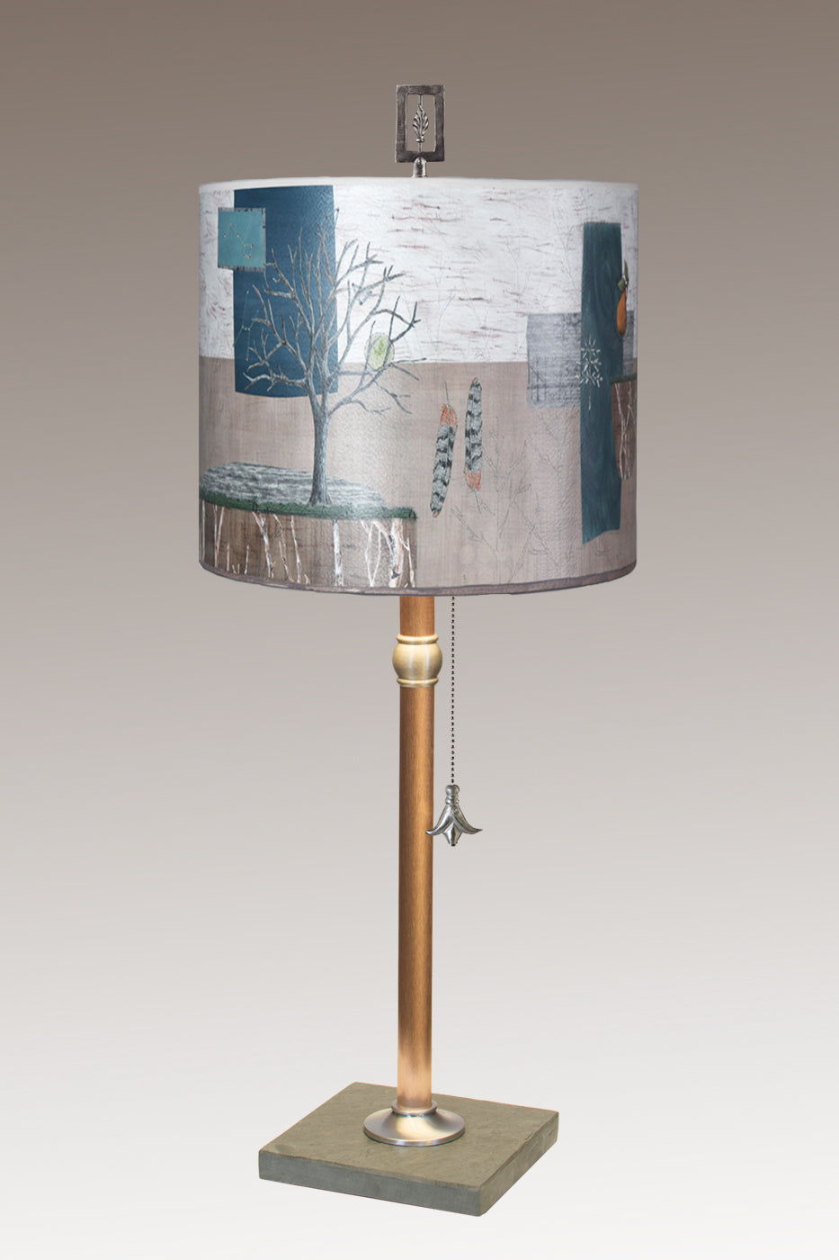 Copper Table Lamp with Medium Drum Shade in Wander in Drift