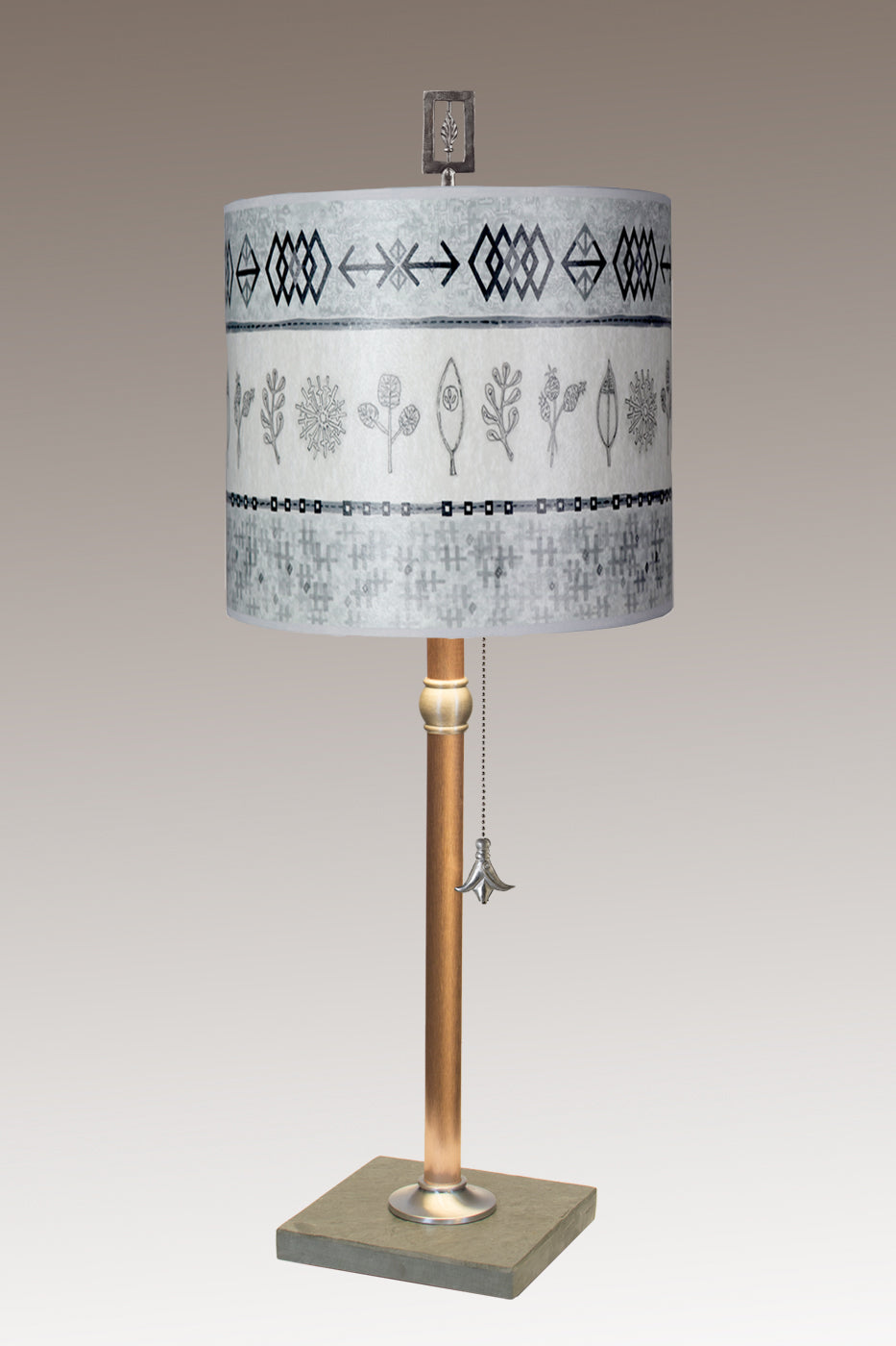 Copper Table Lamp with Medium Drum Shade in Woven & Sprig in Mist