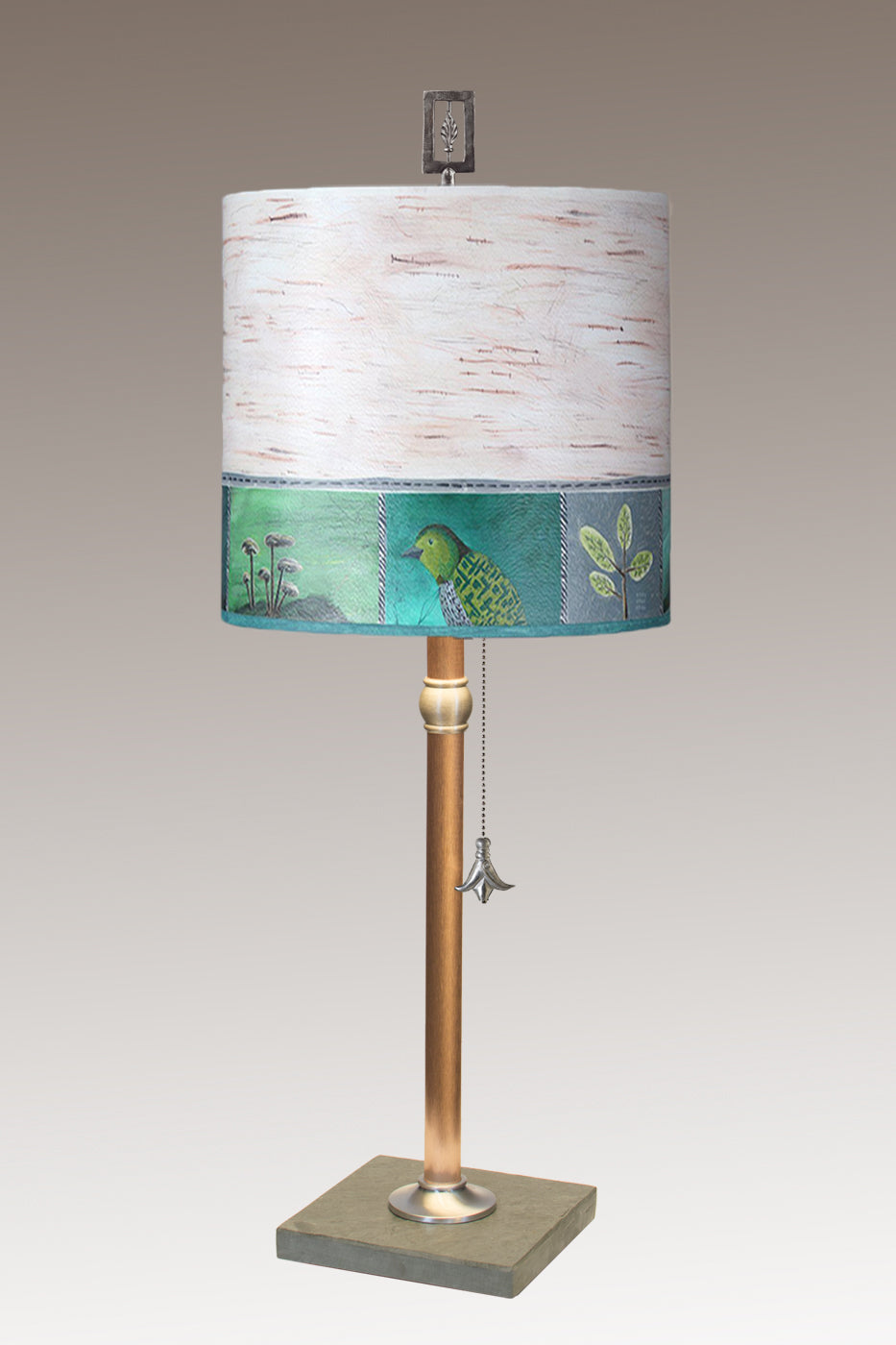 Copper Table Lamp with Medium Drum Shade in Woodland Trails in Birch