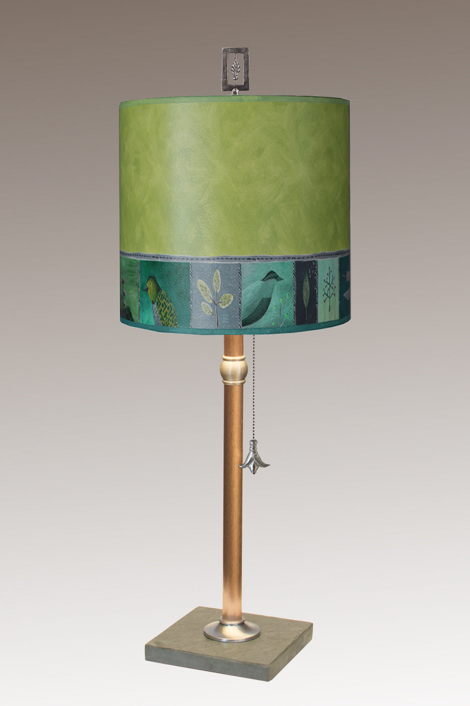 Copper Table Lamp with Medium Drum Shade in Woodland Trails in Leaf