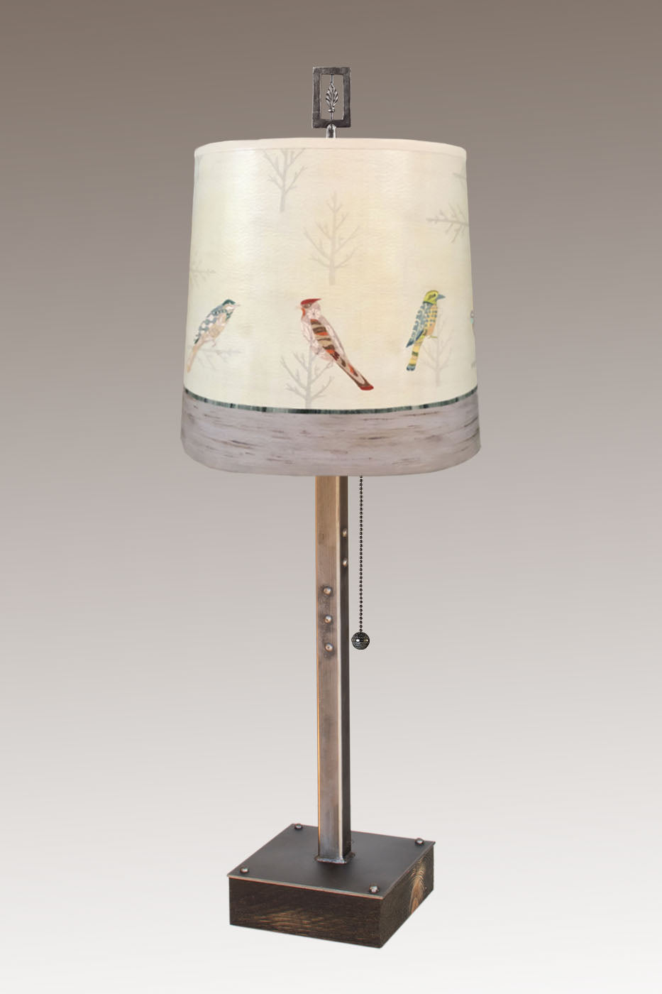 Steel Table Lamp on Wood with Medium Drum Shade in Bird Friends