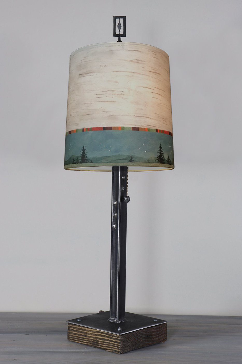 Steel Table Lamp on Wood with Medium Drum Shade in Birch Midnight