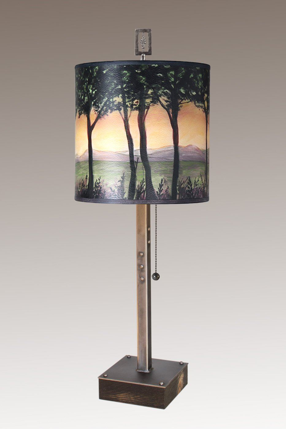 Steel Table Lamp on Wood with Medium Drum Shade in Dawn