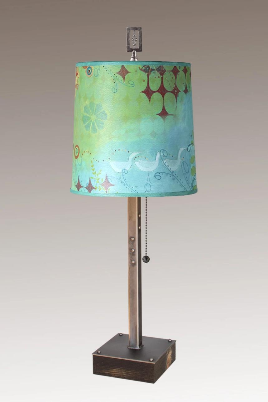 Steel Table Lamp on Wood with Medium Drum Shade in Dream Bird