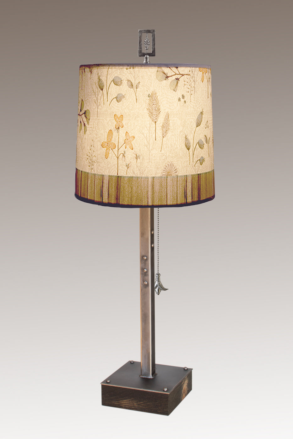 Steel Table Lamp on Wood with Medium Drum Shade in Flora & Maze