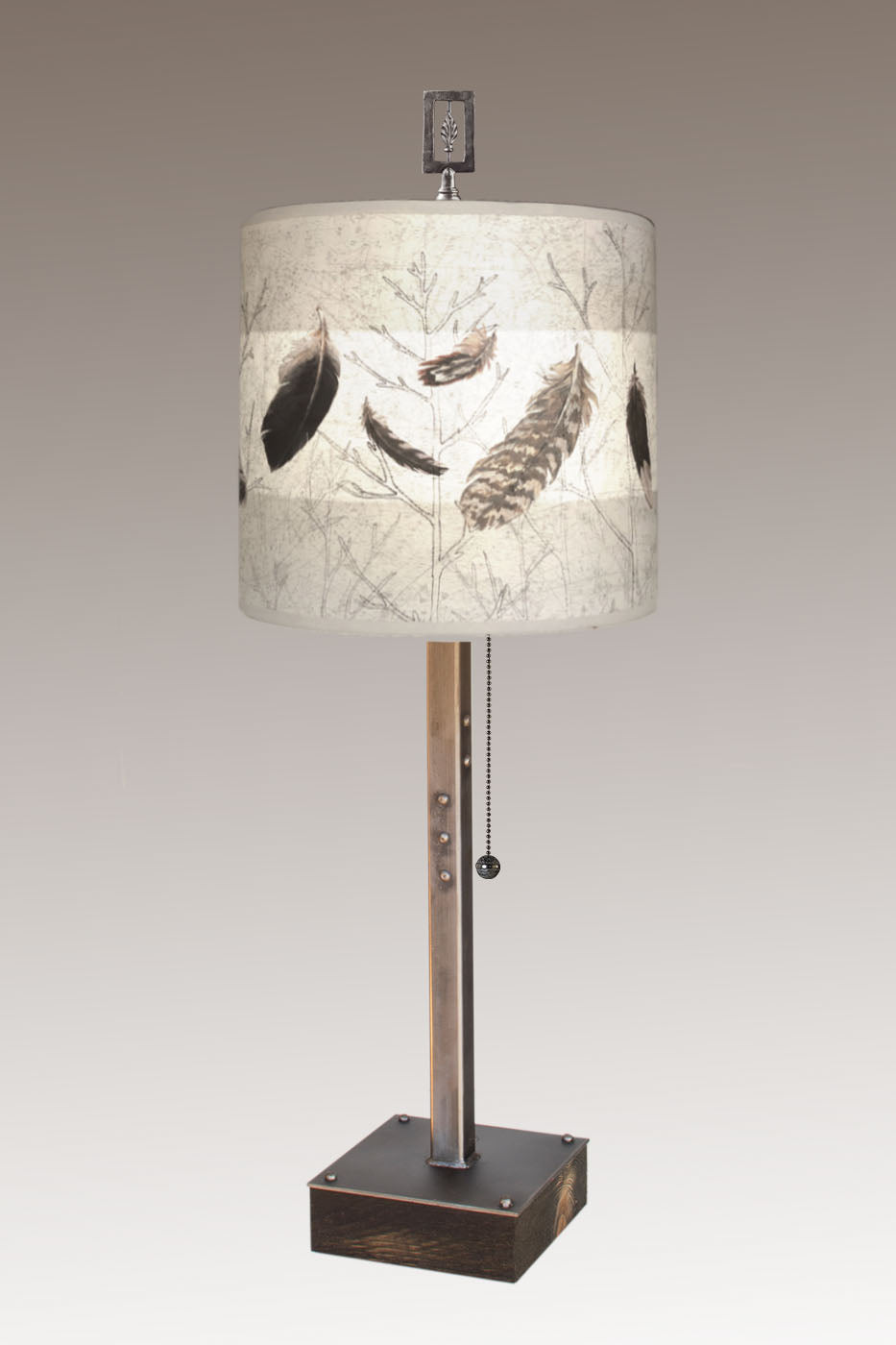 Steel Table Lamp on Wood with Medium Drum Shade in Feathers in Pebble
