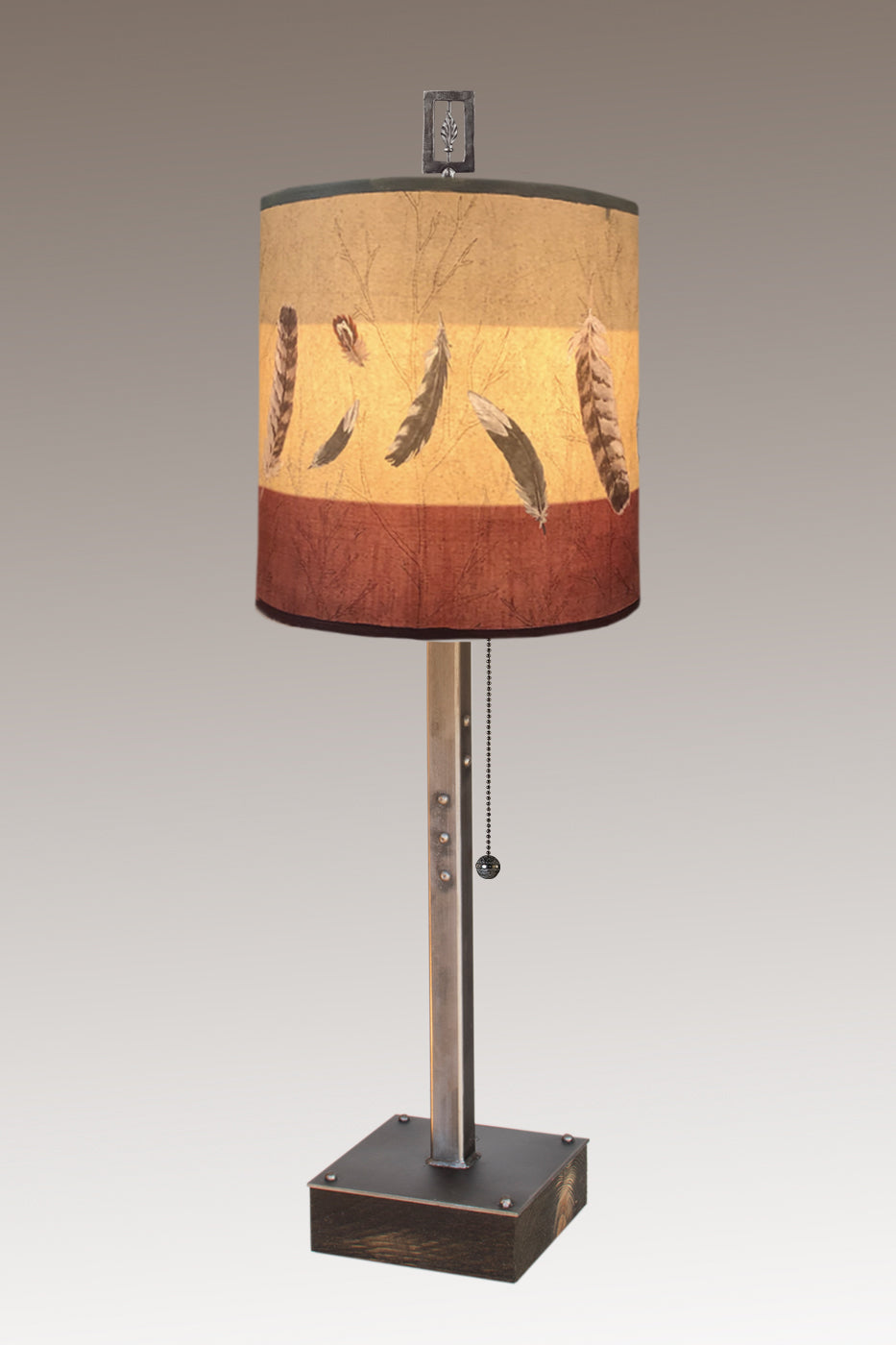 Steel Table Lamp on Wood with Medium Drum Shade in Feathers in Ruby