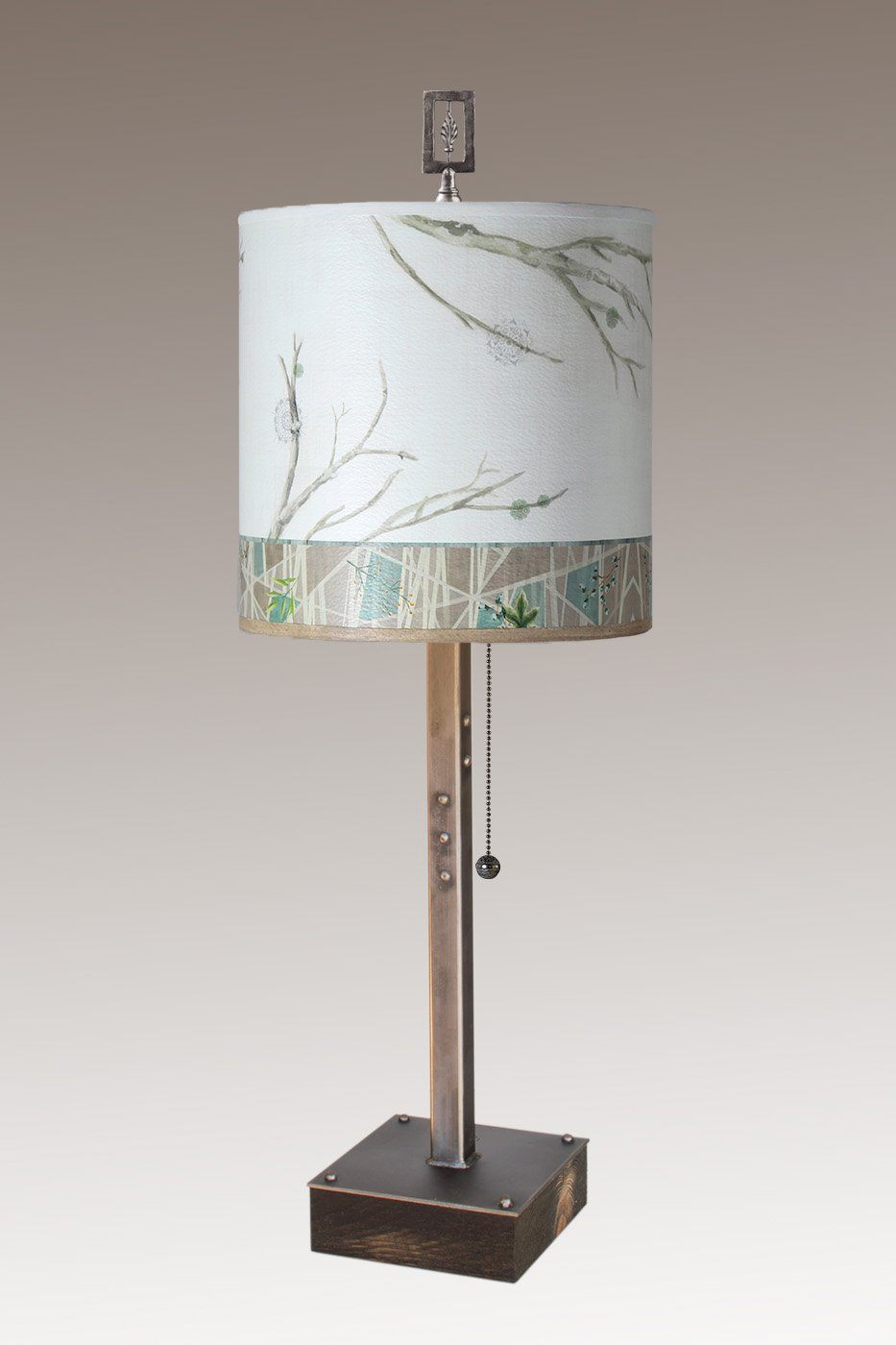 Steel Table Lamp on Wood with Medium Drum Shade in Prism Branch