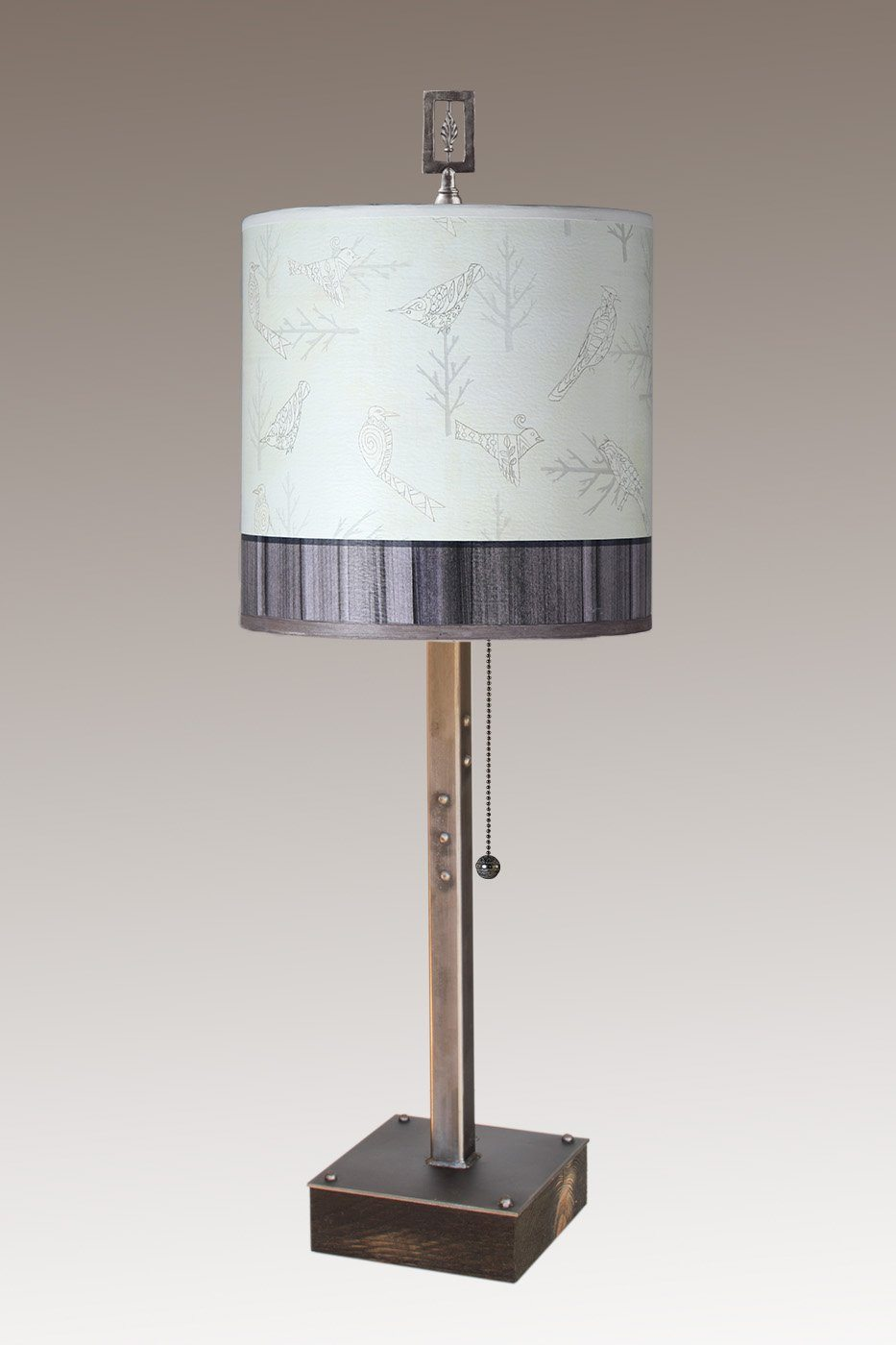 Steel Table Lamp on Wood with Medium Drum Shade in Perch