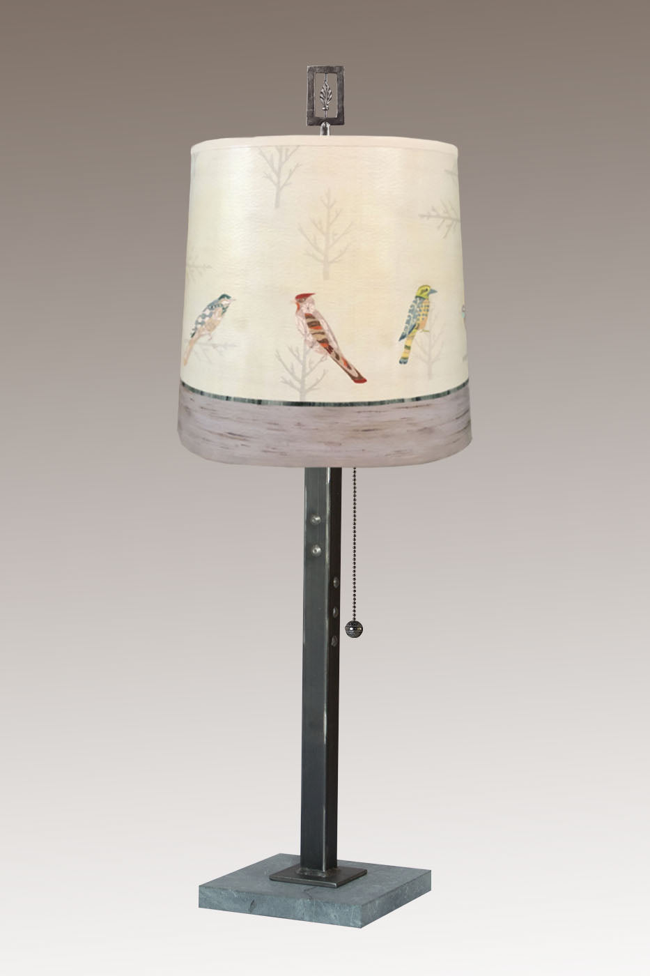Steel Table Lamp on Marble with Medium Drum Shade in Bird Friends