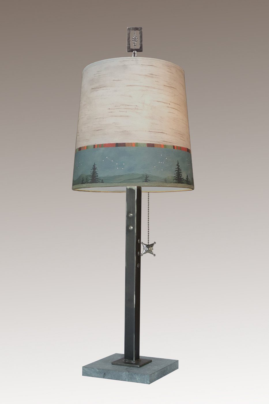 Steel Table Lamp on Marble with Medium Drum Shade in Birch Midnight