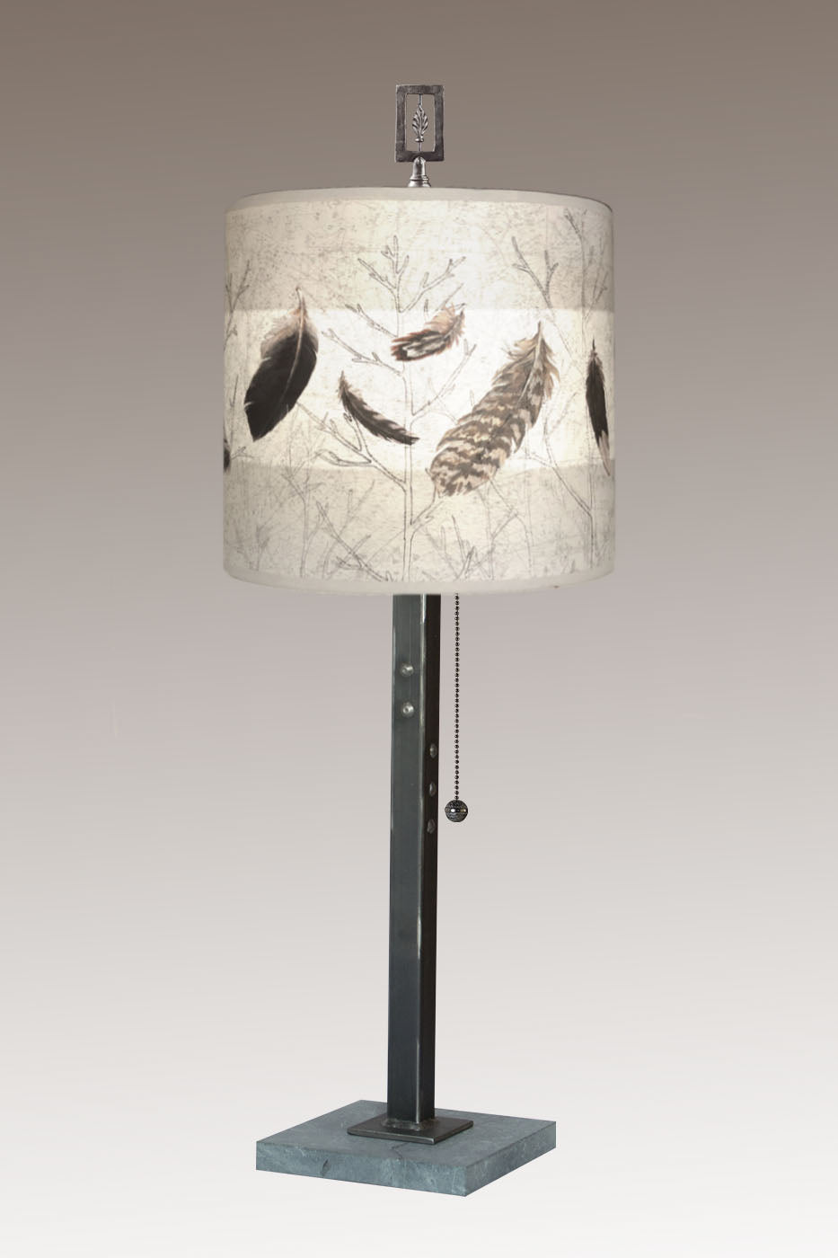 Steel Table Lamp on Marble with Medium Drum Shade in Feathers in Pebble
