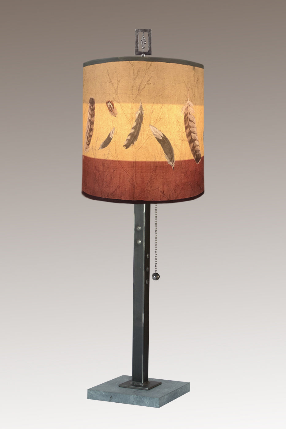 Steel Table Lamp on Marble with Medium Drum Shade in Feathers in Ruby