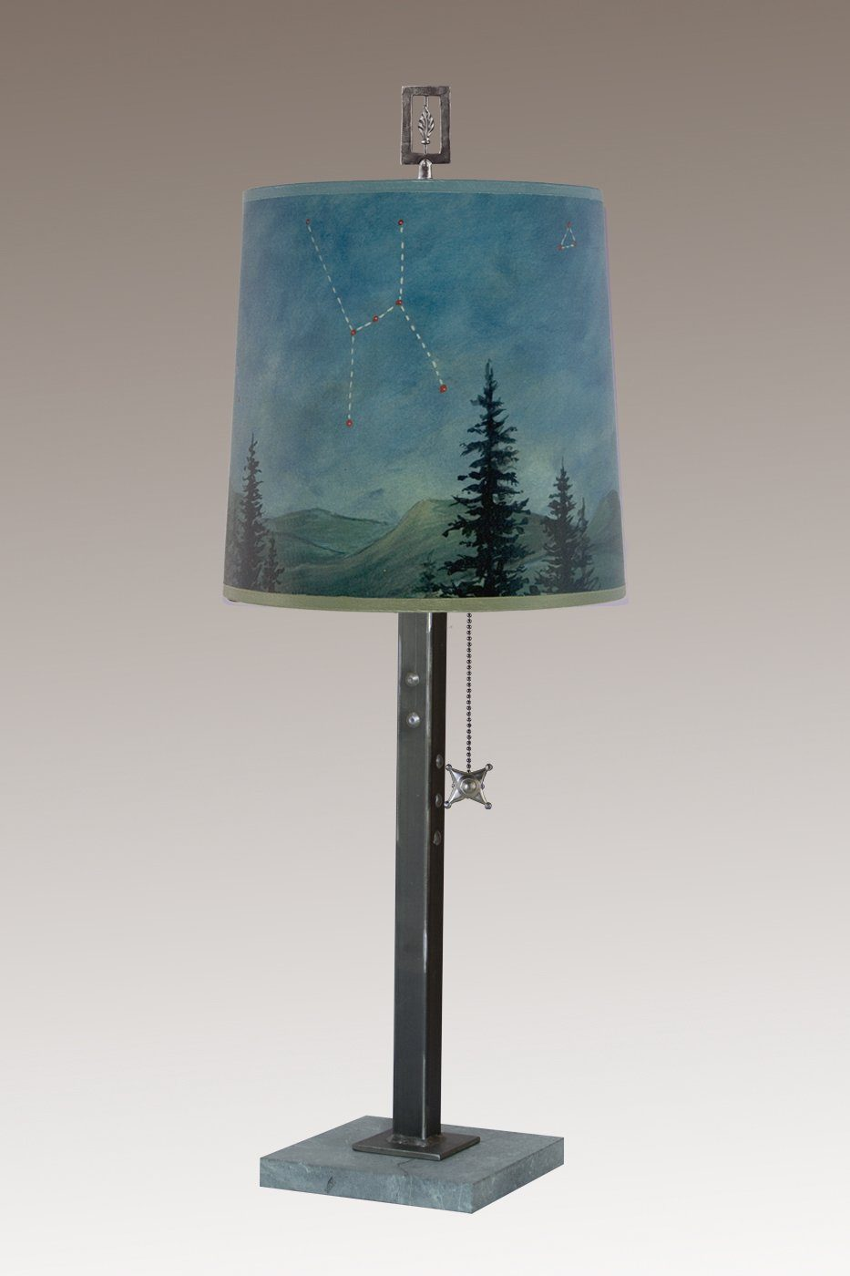 Steel Table Lamp on Marble with Medium Drum Shade in Midnight Sky