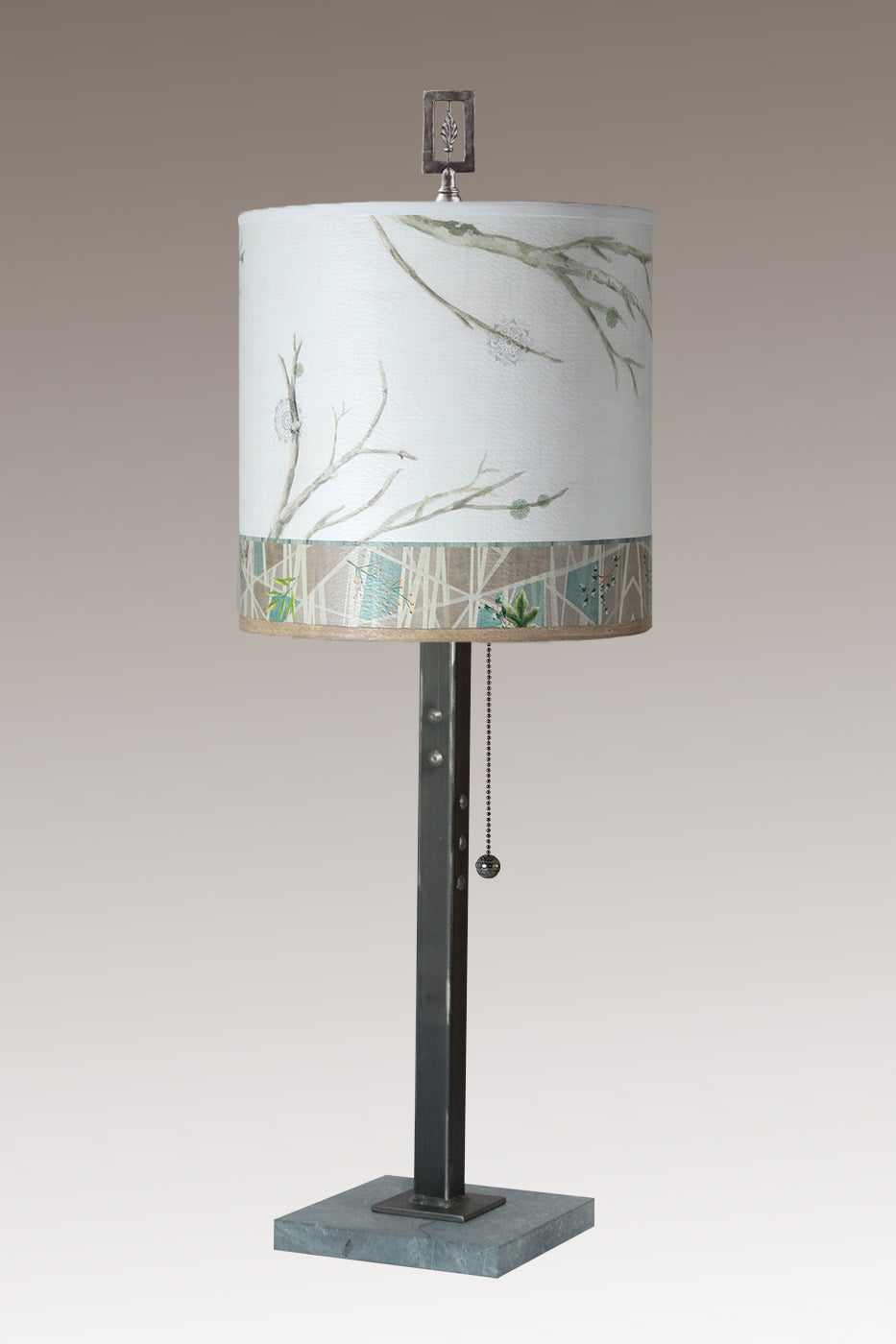 Steel Table Lamp on Marble with Medium Drum Shade in Prism Branch