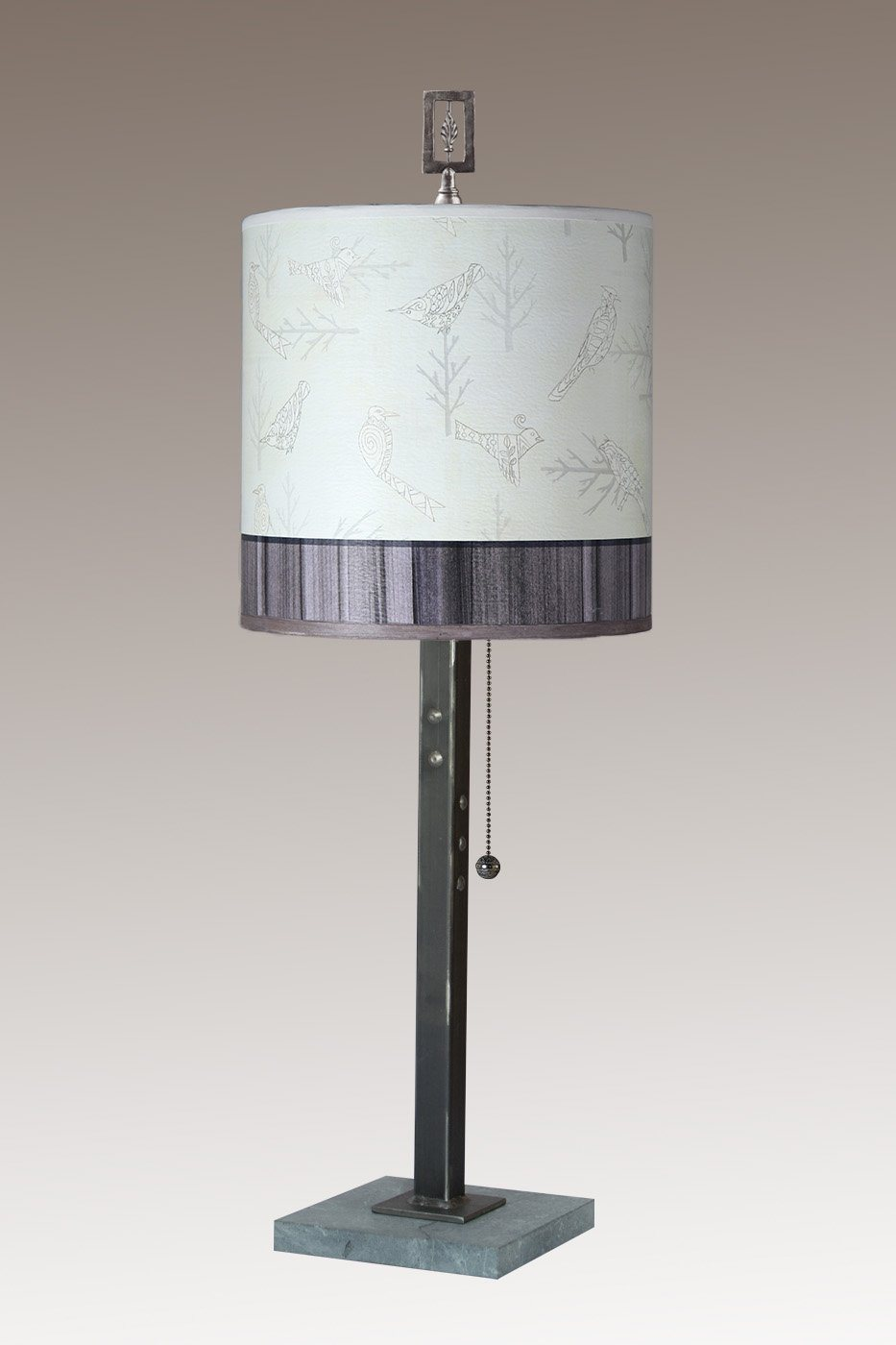 Steel Table Lamp on Marble with Medium Drum Shade in Perch