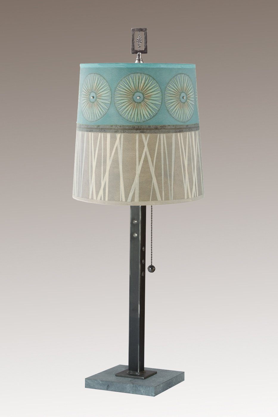 Steel Table Lamp on Italian Marble Base with Small Drum Shade in Pool