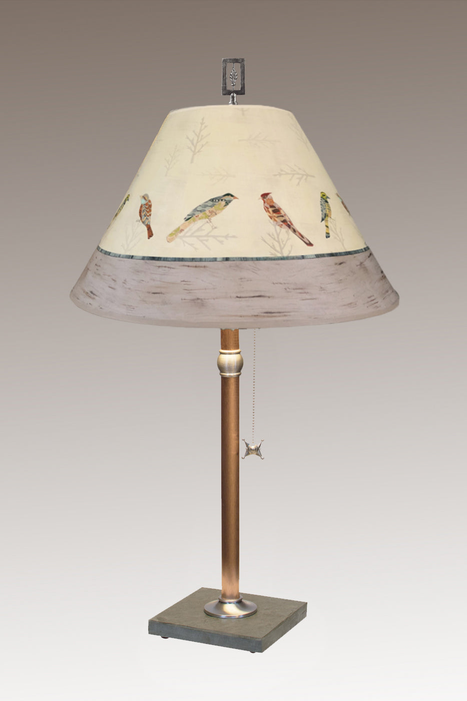Copper Table Lamp on Vermont Slate with Medium Conical Shade in Bird Friends